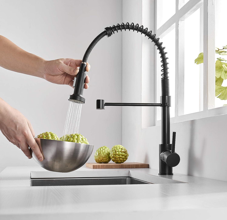 rociador giratorio para grifos de cocina Newrain Grifo mezclador monomando para fregadero de cocina con rociador extra/íble de 360 grados color negro mate