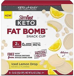 SlimFast Keto Fat Bomb Snacks - Iced Lemon Drop - 14 Count Box - Pantry Friendly