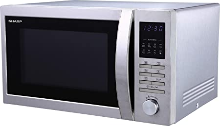 Sharp R-322STWE - Microondas con placa giratoria, 25 L, 900 W, 8 menús de cocción automática