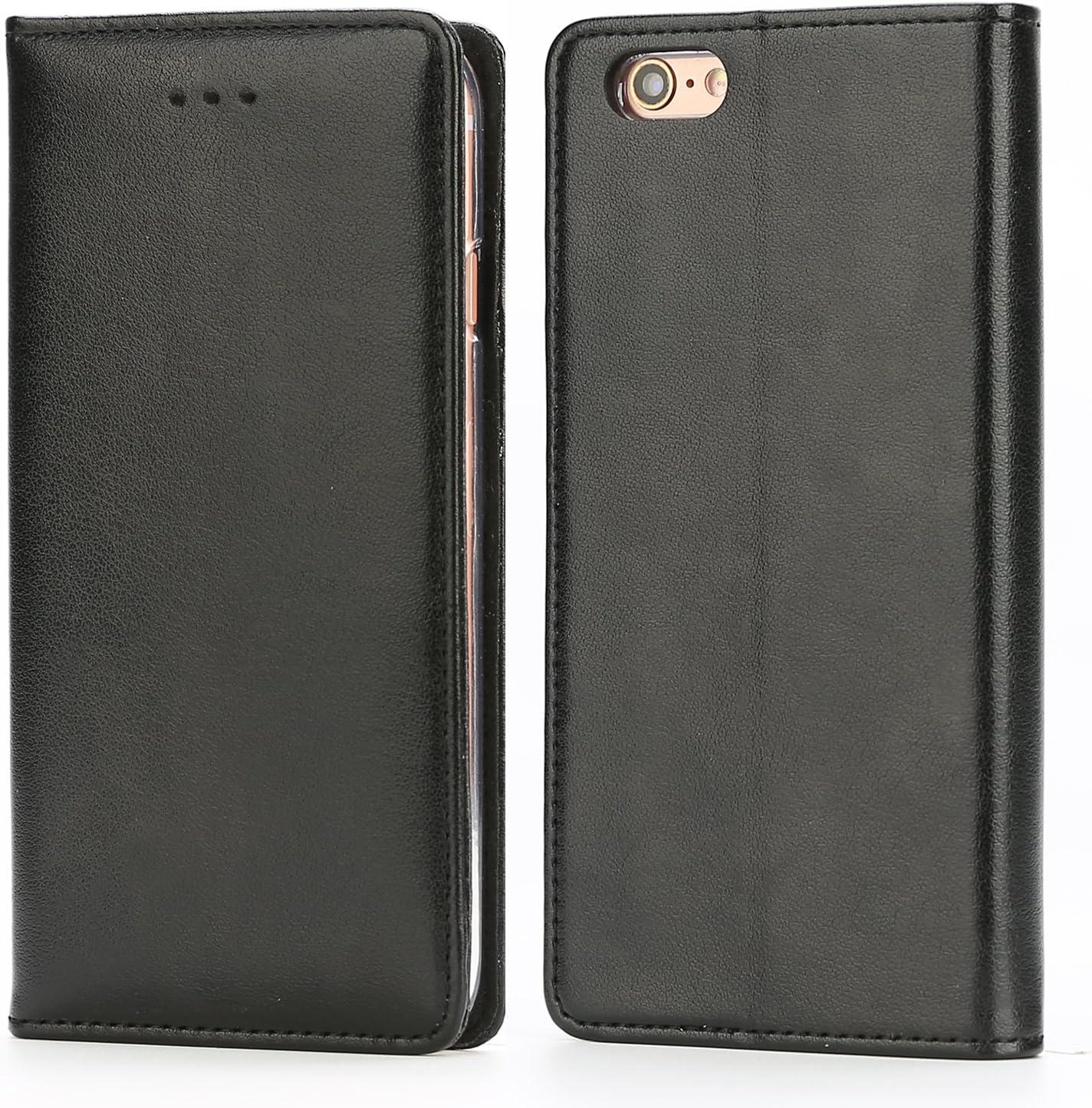 Funda iPhone 6 / 6S, IPHOX Cuero Fundas iPhone [Ranuras para Tarjetas][Cierre Magnético] [Soporte Plegable] [Ultra-Delgado]TPU Parachoques Cover Para Apple iPhone 6S / 6(Black)