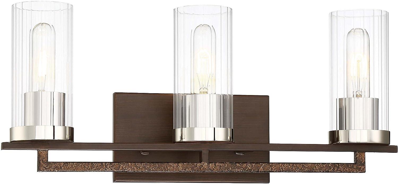 Minka Lavery Wall Light Fixtures 4603-101 Maddox Roe Bath Vanity Lighting Iron Ore 3-Light 180 Watts
