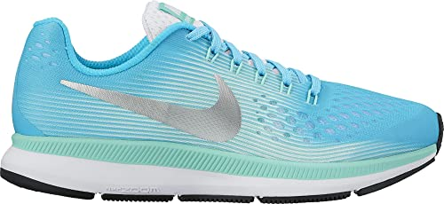 55b569327ebb NIKE Girl s Zoom Pegasus 34 (GS) Running Shoe Chlorine Blue Metallic Silver