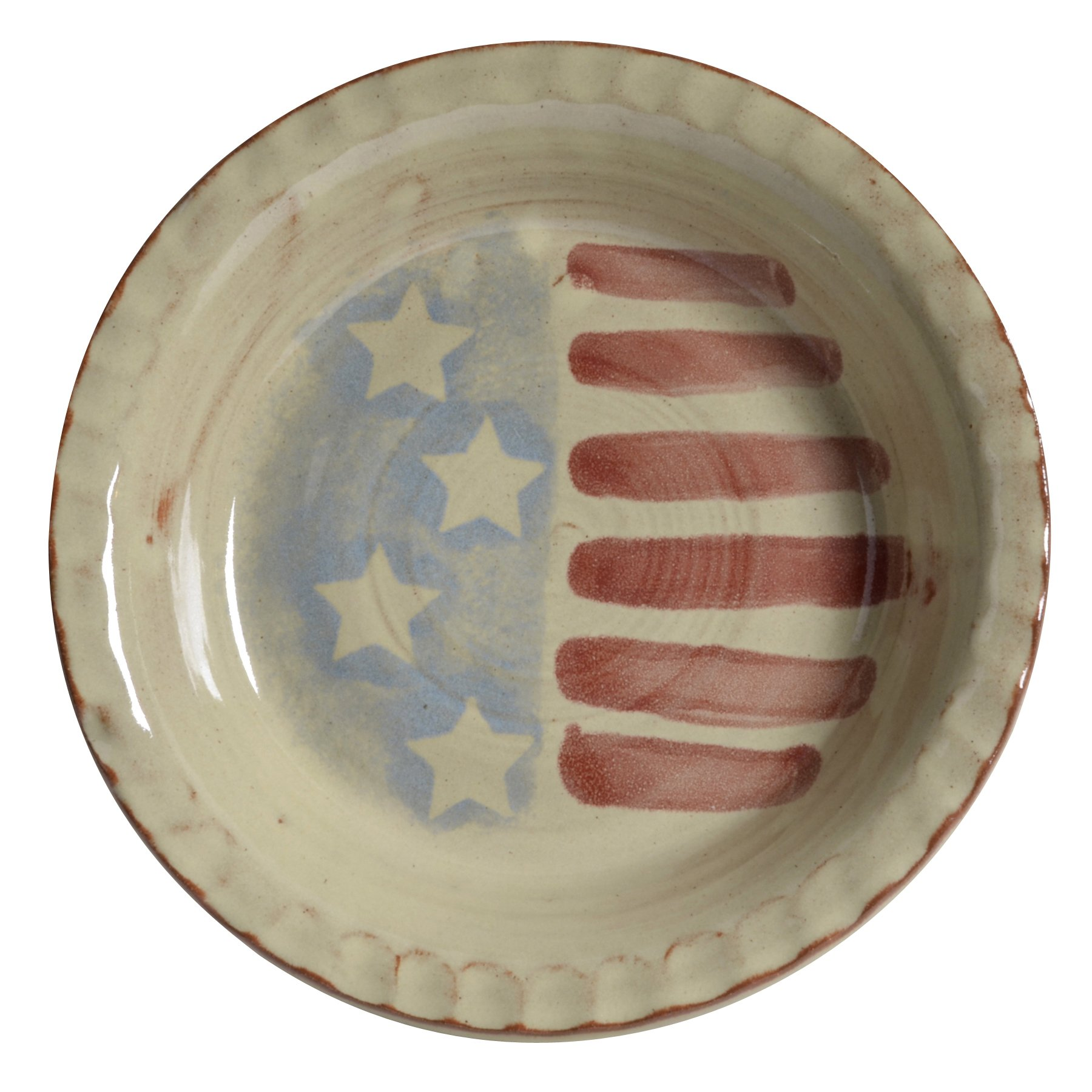 MudWorks Pottery Old Glory 9.5-inch Pie Plate with Fluted Rim