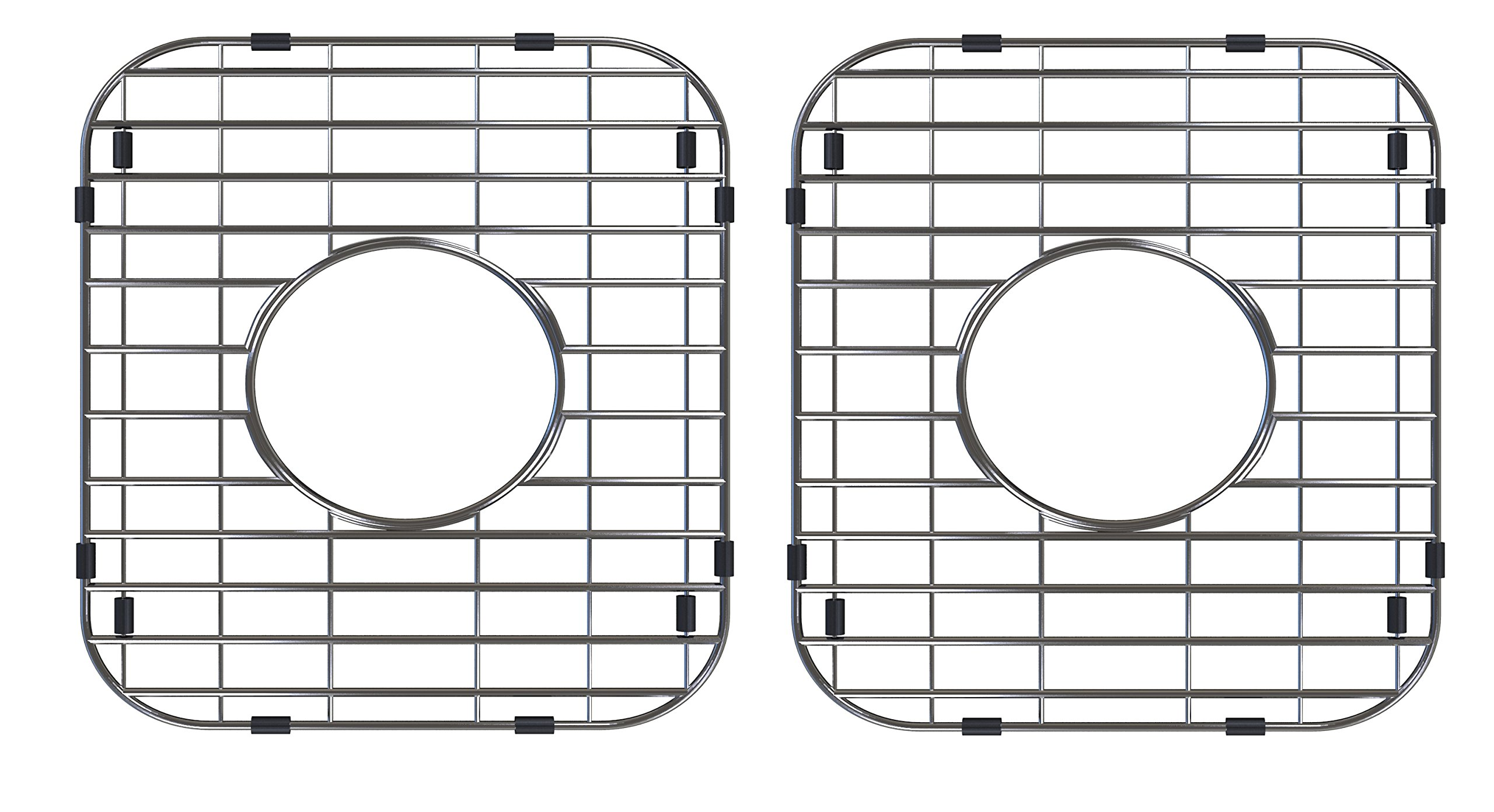 Walter Sinks Stainless Steel Kitchen 13'' x 11 Inch Protector Grids for Sinks Universal Double Bowl Drain Racks Grates Bottom Strainer Center Hole, Silver