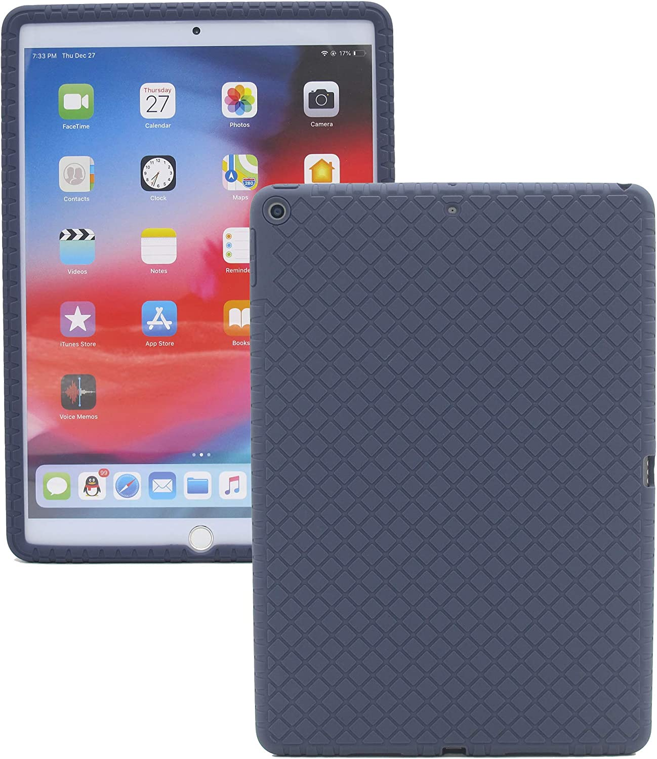 Veamor iPad 9.7 Inch 2018/2017 Silicone Back Case Cover, Anti Slip Rubber Protective Skin Soft Bumper for Apple iPad 6th / 5th Gen, Kids Friendly/Ultra Slim/Lightweight/Shockproof (Midnight Blue)