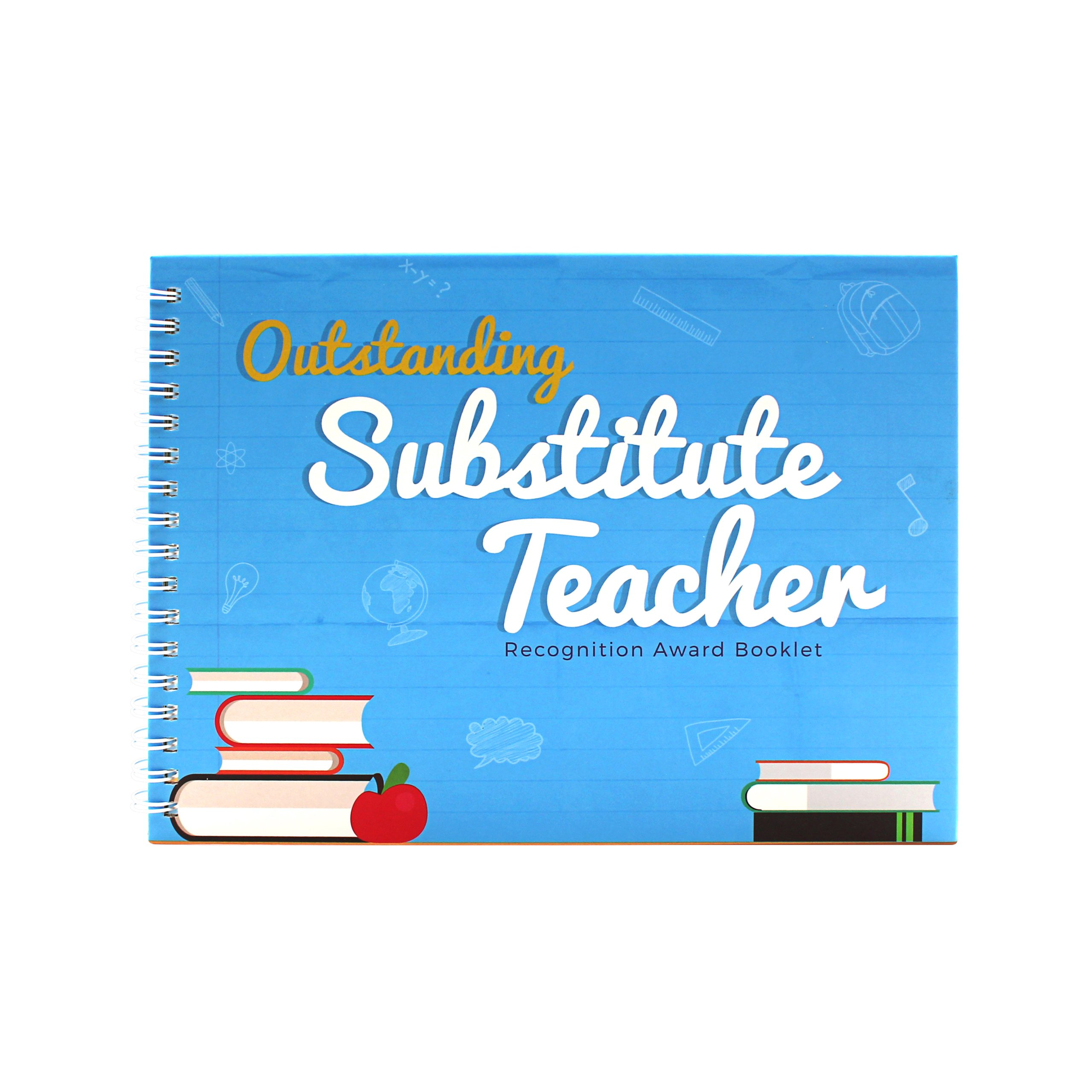 Outstanding Substitute Teacher Edition - Recognition Award Booklet - This Memory Book contains Funny Designs And Original Quotes is The Perfect Gift For Your Favorite Teacher - Comes with Stickers
