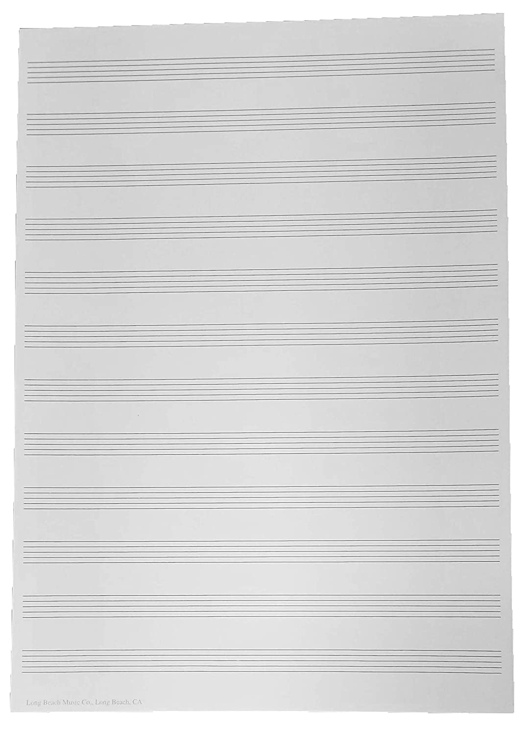 Manuscript Paper 12 Staff for Sheet Music Composition, Song Writing, Piano Long Beach Music