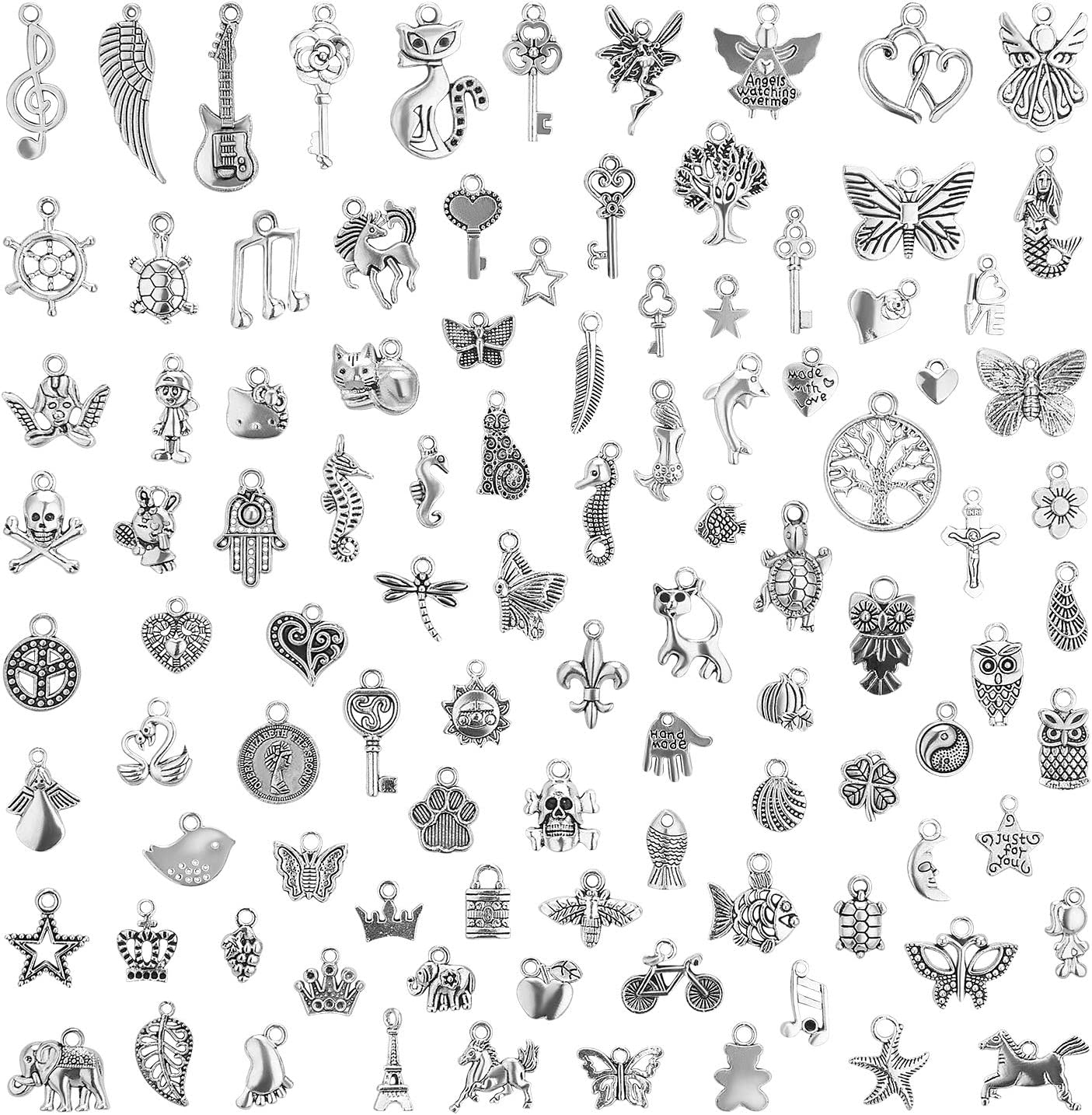Wholesale 200 Pieces Antique Silver Bulk Mixed Charms Pendants for DIY Necklaces Fashion Accessories Bracelets Bangles Jewelry Making