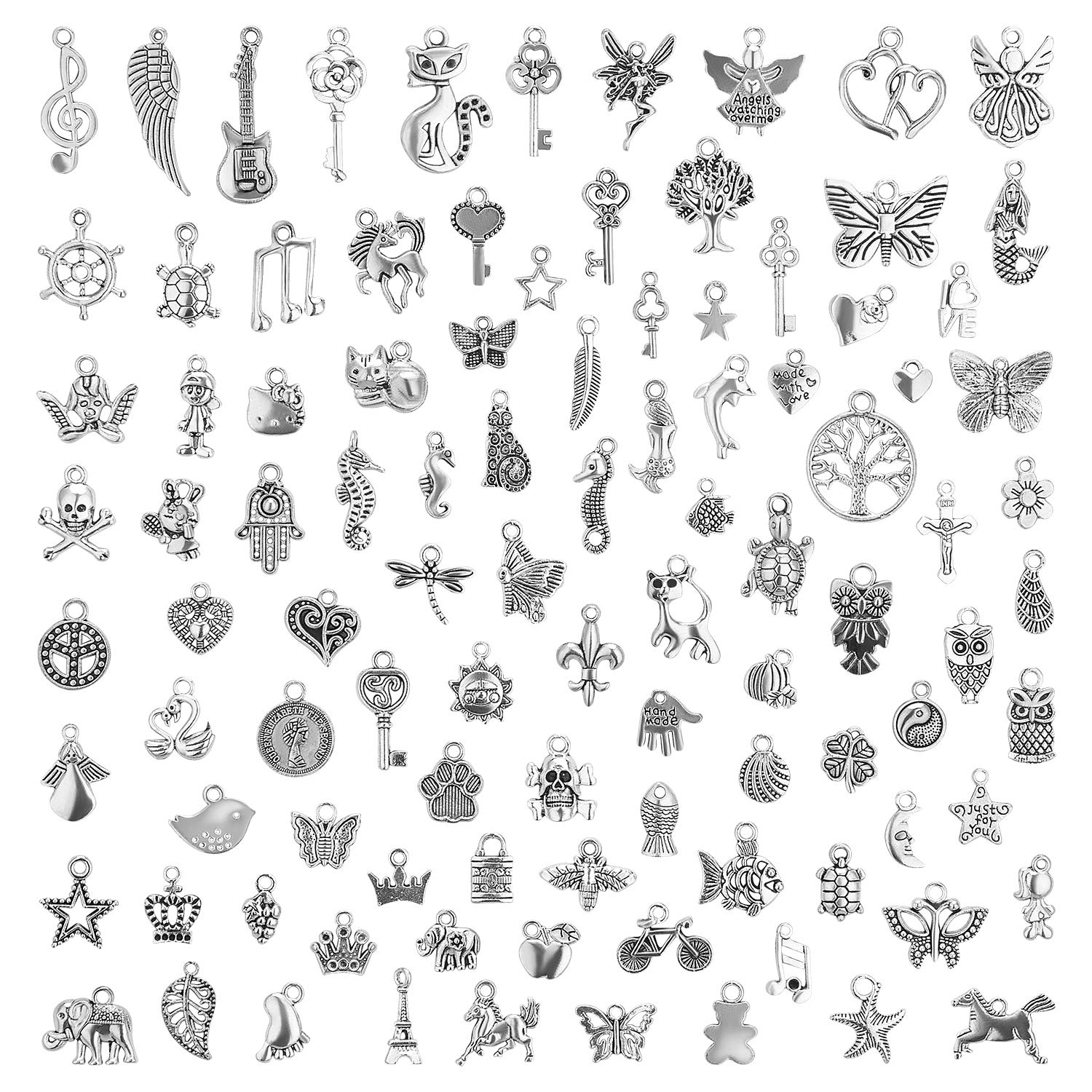Charms for Jewelry Making 200 Pieces Wholesale Bulk Lots Mixed Smooth Tibetan Silver Charms Pendants for DIY Necklace Bracelet Jewelry Making Crafting