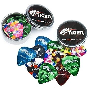 Tiger MuTiger Guitar Plectrums With 2 Pick Storage Tins   24 Medium Guitar  Picks