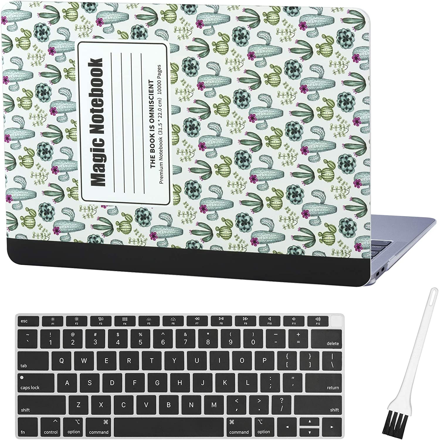 MacBook air 13 Inch Case A1932 A2179 Composition Laptop Hard Shell Cover Sleeve Matte Rubberized (2020 2019 2018 Release, Touch ID) with Silicon Keyboard Cover and Dust Brush (Cactus Notebook)