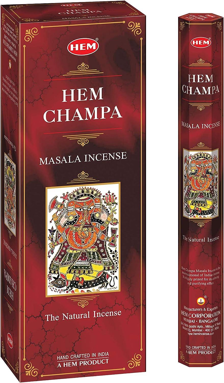HEM Champa Masala Incense Sticks - Pack of 6 - 120 Count - 301g