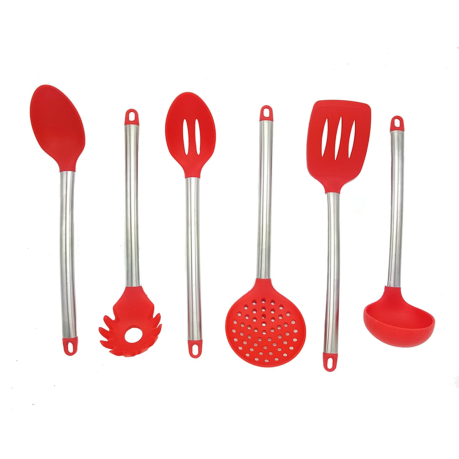 Kitchen Utensils Set with Stainless Steel Handle, Silicone Serving Heads, Plastic Holder Non Stick Heat Resistance Cooking Tool Set of 7 Red MAOYUAN