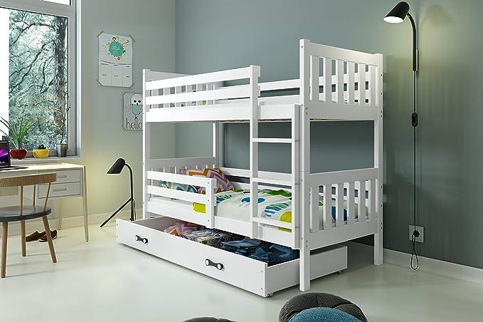 LITERA INFANTIL CARINO para colchones 190x90, los somieres y cajón GRATIS!COLCHONES DE ESPUMA DE REGALO! color blanco: Amazon.es: Hogar