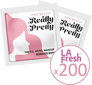 """product image for LA Fresh Makeup Remover Facial Cleansing Wipes Pack of 200ct Individually Wrapped 6x8"""" Wipes Made With Vitamin E To Leave Skin Soft And Smooth Convenient Size For Purse, Gym Bag, Nightstand, Car, Or Anywhere On The Go"""