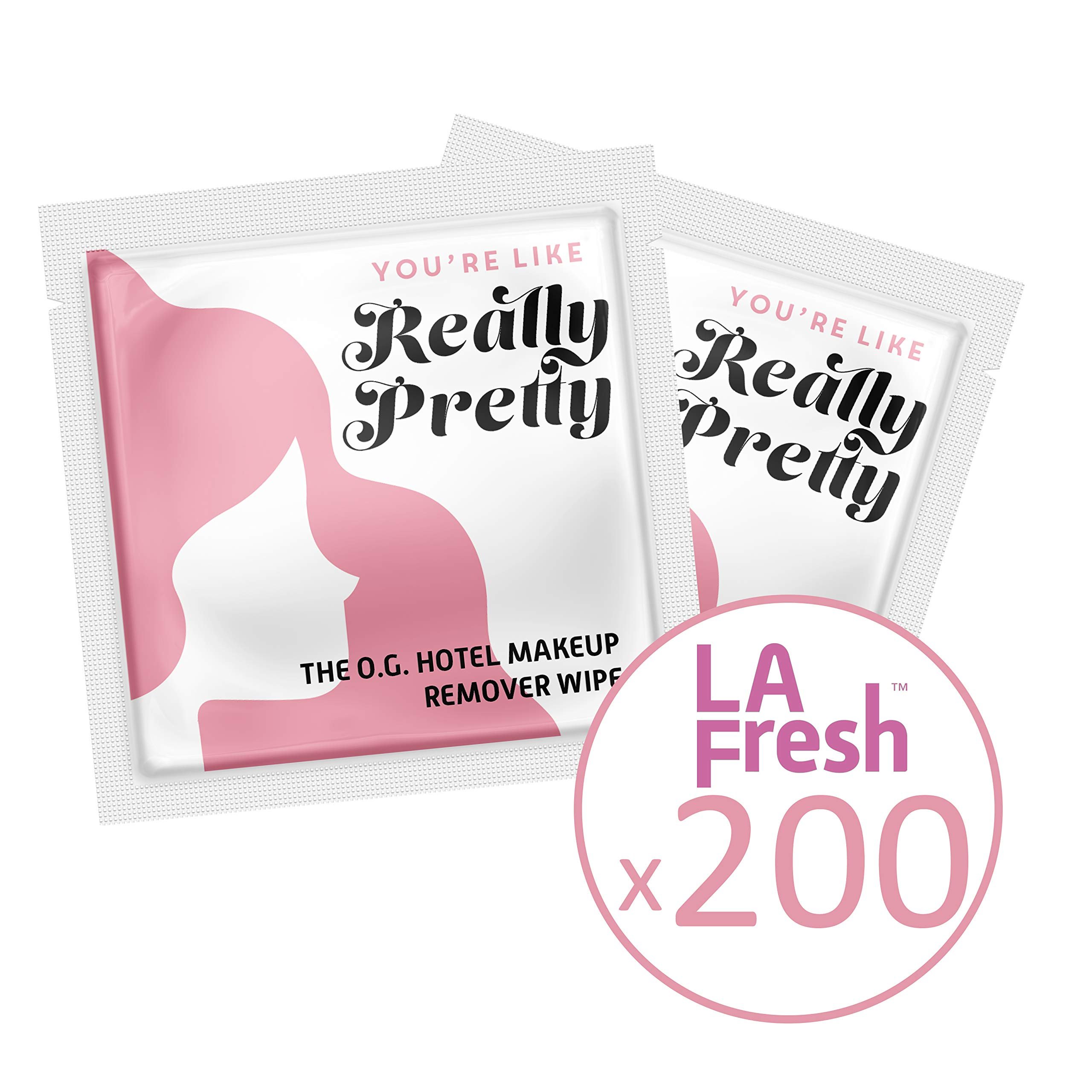 La Fresh Travel Lite Makeup Remover Cleansing Travel Wipes - Natural, Biodegradable, Waterproof, Facial Towelettes With Vitamin E - Individually Wrapped & Sealed (Pack of 200)