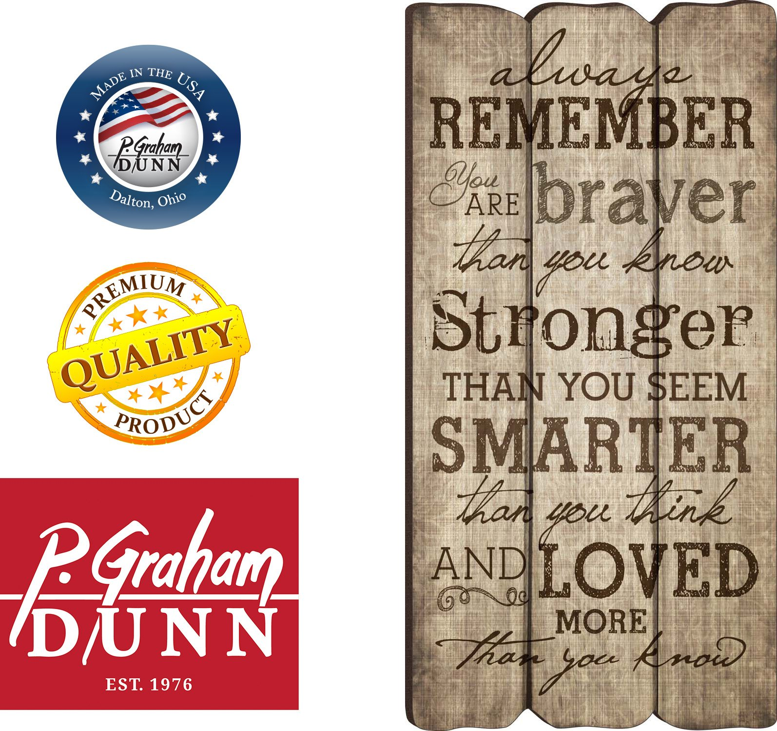 P. Graham Dunn Always Remember You Are Stronger Braver Smarter 12 x 6 Decorative Wall Art Sign Plaque by P. Graham Dunn (Image #4)
