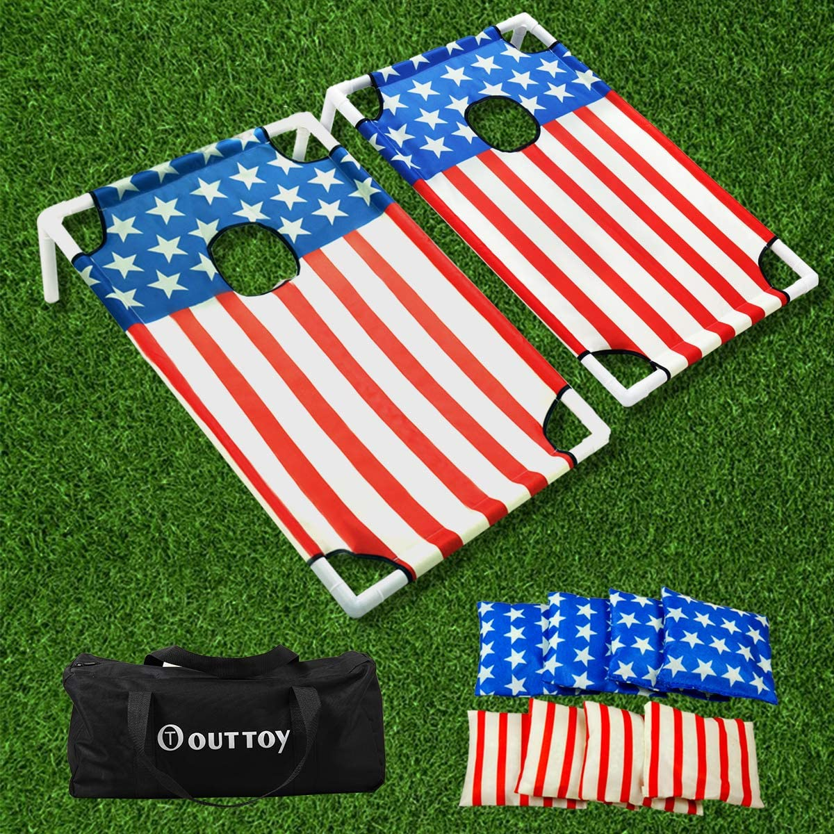 3 x 2FT Portable Collapsible CornHole Toss Game Set With 8 Cornhole Bean Bags