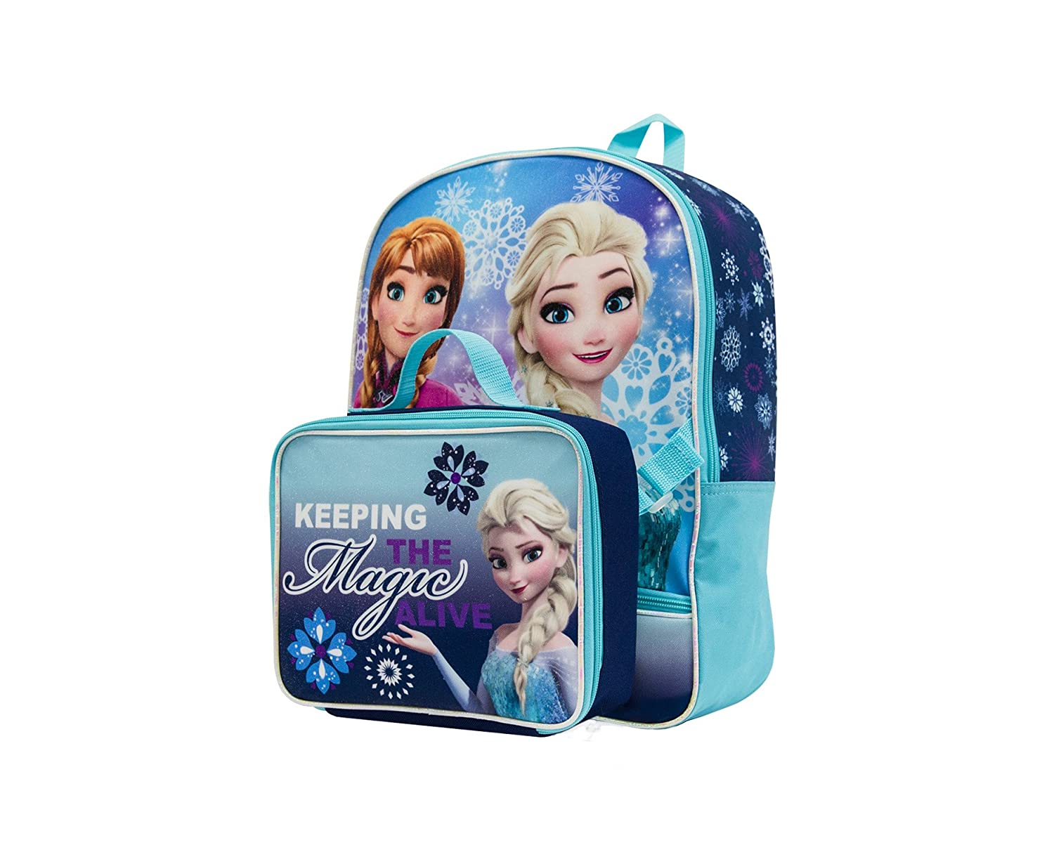 Disney Frozen Backpack With Lunch Kit Backpack Blue One Size Global Design Concepts Inc FZ30905-SC-TU00