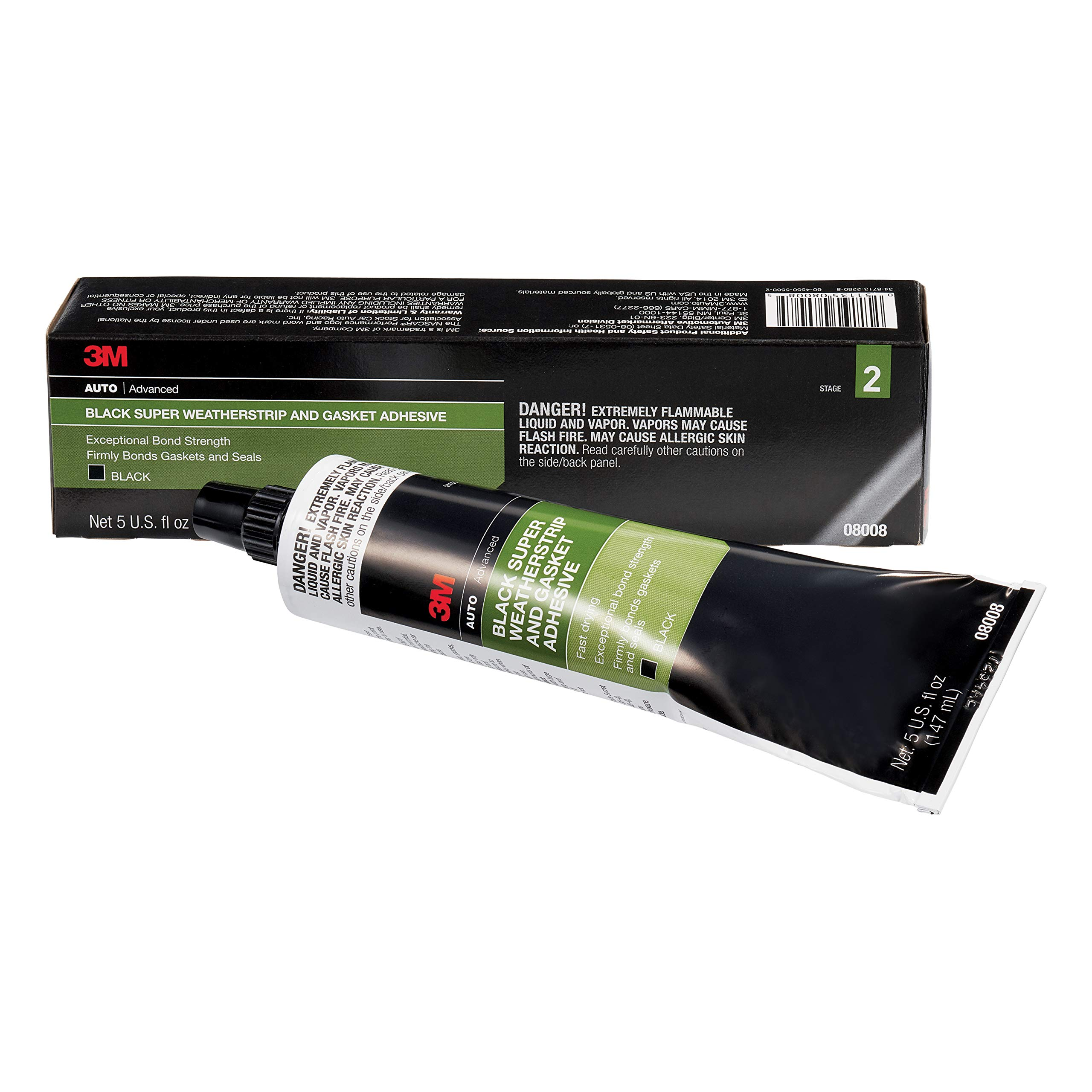3M Black Super Weatherstrip and Gasket Adhesive, 08008, 5 fl oz