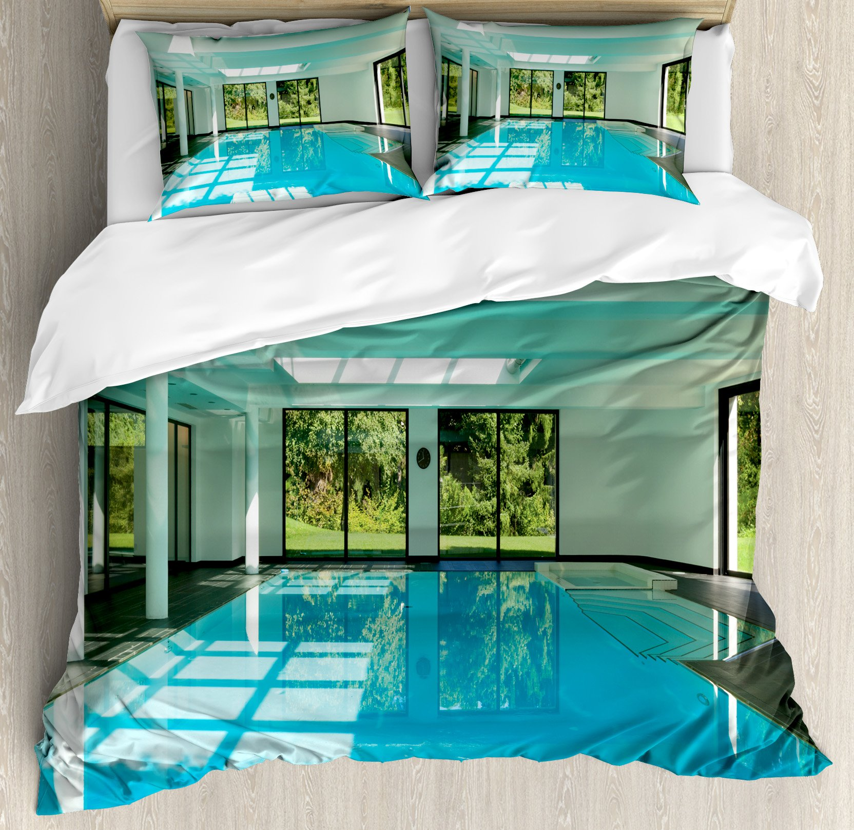 House Decor Duvet Cover Set Queen Size by Ambesonne, Indoor Swimming Pool of a Modern House with Spa Window Residential Interior, Decorative 3 Piece Bedding Set with 2 Pillow Shams by Ambesonne (Image #1)