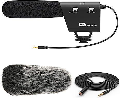 PIXEL MC650 Kit de micrófono para cámara de vídeo, micrófono de ...