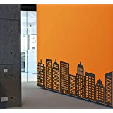 Wallency City Skyline Wall Decal - Various Colors - Nine Geometric Buildings Silhouettes - Removable Vinyl Stickers