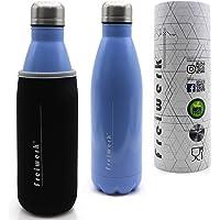 freiwerk® Thermoflasche drinkfles geïsoleerde thermofles roestvrij staal dubbelwandig om mee te nemen neopreen…