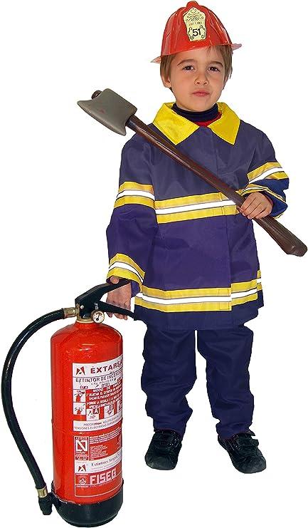 EL CARNAVAL Disfraz Bombero niño Talla de 8 a 10 años: Amazon.es ...