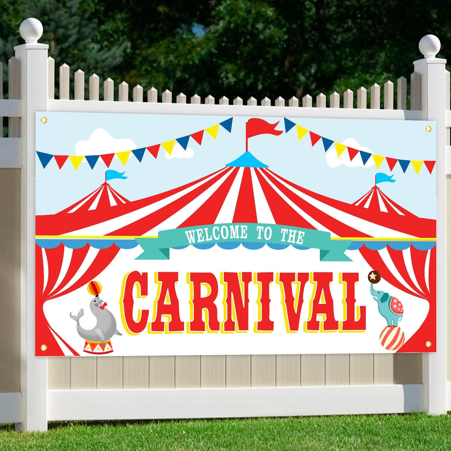 Oriental Cherry Carnival Party Supplies Circus Decorations Carnival Theme Large Backdrop Banner Sign For Kids Birthday School Outdoor Home Wall