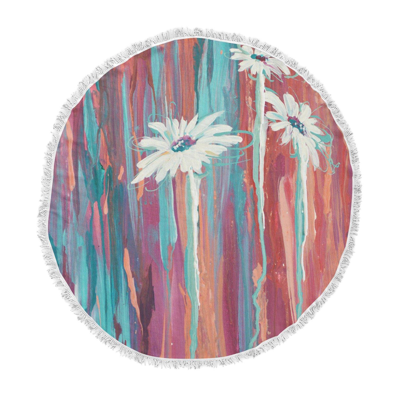 Kess InHouse Brienne Jepkema Whole Teal Orange Round Beach Towel Blanket