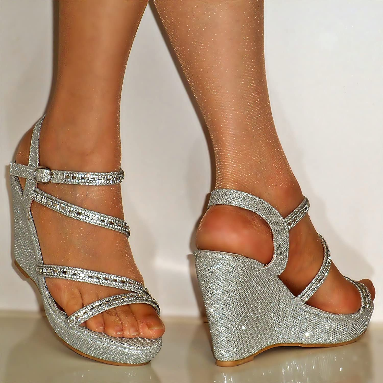 Perfect ROCK ON STYLES NEW DIAMANTE SILVER ANKLE STRAP PLATFORM WEDGE MID HIGH HEEL  PARTY PROM EVENING BRIDAL SANDALS SHOES SIZE: Amazon.co.uk: Shoes U0026 Bags