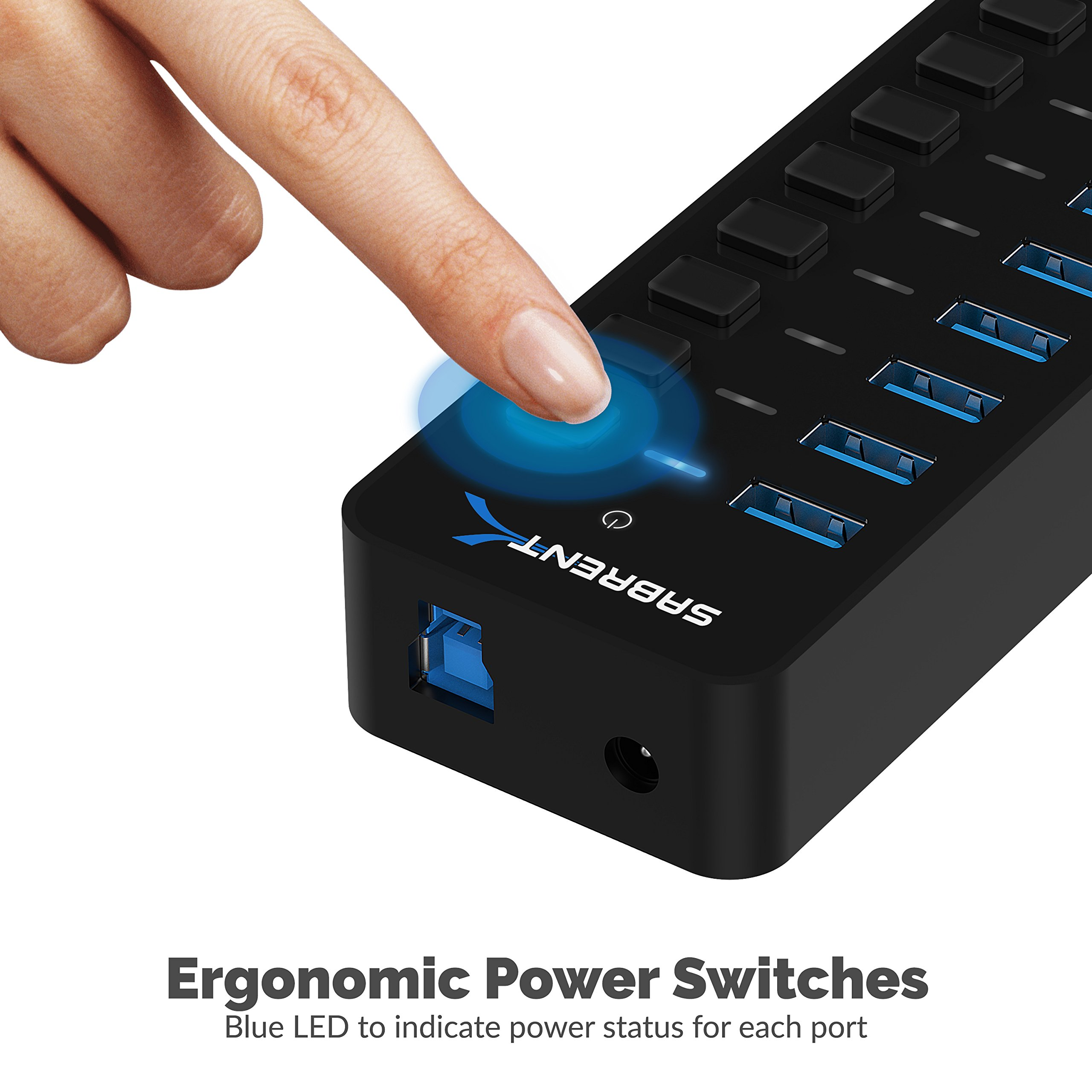 Sabrent 60W 7-Port USB 3.0 Hub + 3 Smart Charging Ports with Individual Power Switches and LEDs includes 60W 12V/5A power adapter (HB-B7C3) by Sabrent (Image #6)