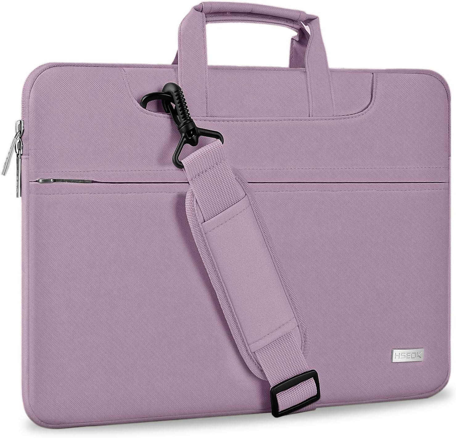 """Hseok Laptop Shoulder Bag 15 15.6 16 Inch Brifecase, Compatible MacBook Pro 16 15.4 Inch, XPS 15 Spill-Resistant Handbag with Shoulder Strap for Most 14""""-16"""" Notebooks, Purple"""