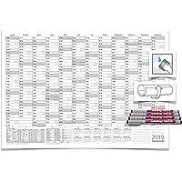 Wandkalender/Wandplaner Din A1 grau abwischbar mit Folienschreiber von Edding 4-farbig Maße: 84,0 x 59,4cm