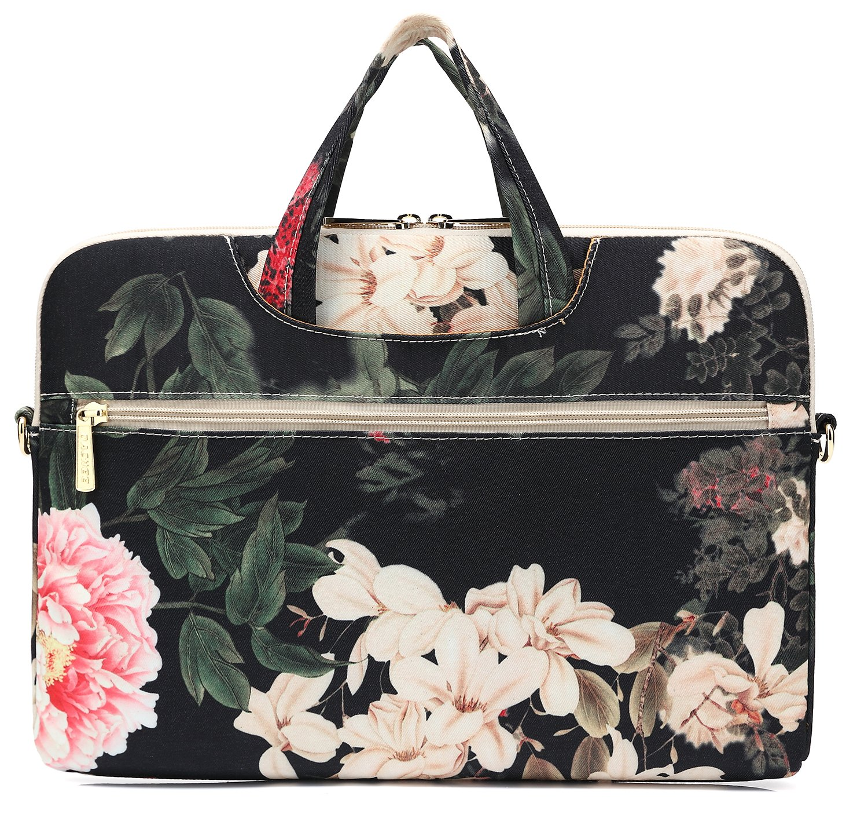 DACHEE Black Peony Patten Waterproof Laptop Shoulder Messenger Bag Case Sleeve for 14 Inch 15 Inch Laptop Case Laptop Briefcase 15.6 Inch by DACHEE (Image #4)