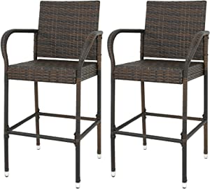 LEMY Outdoor Brown Wicker Rattan Bar Stool All-Weather Patio Furniture Chair Set with Armrest and Footrest (Set of 2)
