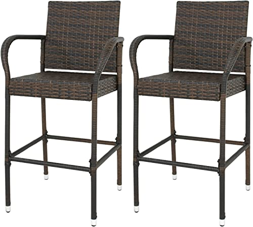 LEMY Outdoor Brown Wicker Rattan Bar Stool All-Weather Patio Furniture Chair Set