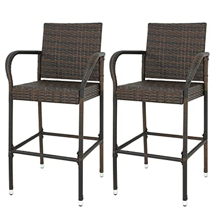 Astonishing Zeny Wicker Barstool All Weather Dining Chairs Outdoor Patio Furniture Wicker Chairs Bar Stool With Armrest W Armrest Set Of 2 Home Interior And Landscaping Ologienasavecom