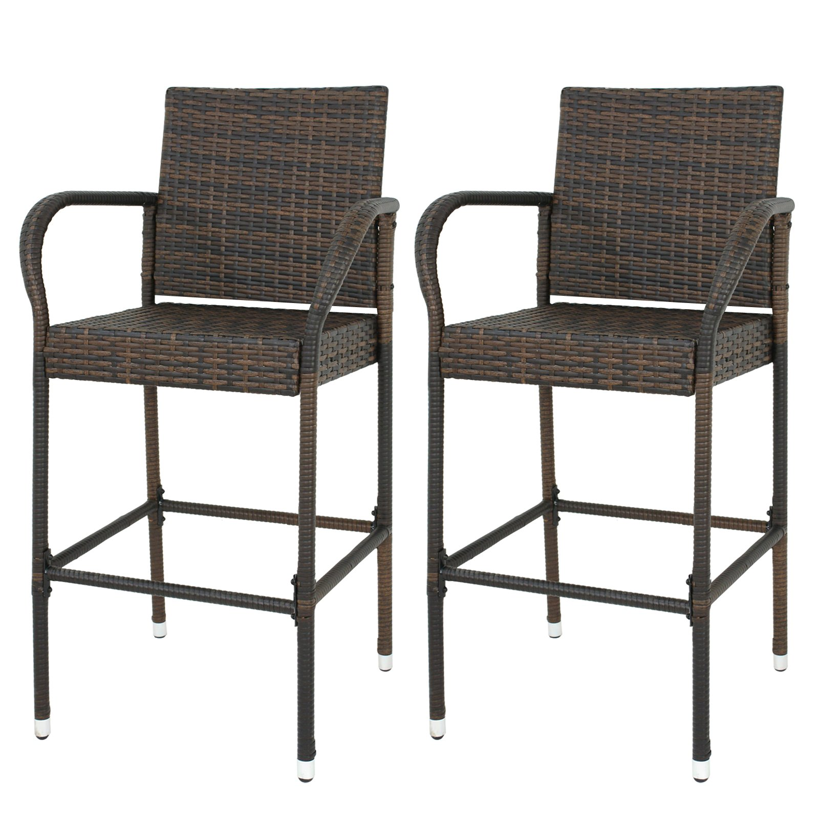 Nova Microdermabrasion Rattan Wicker Bar Stool Outdoor Backyard Chair Patio Furniture Chair with Armrest – Set of 2
