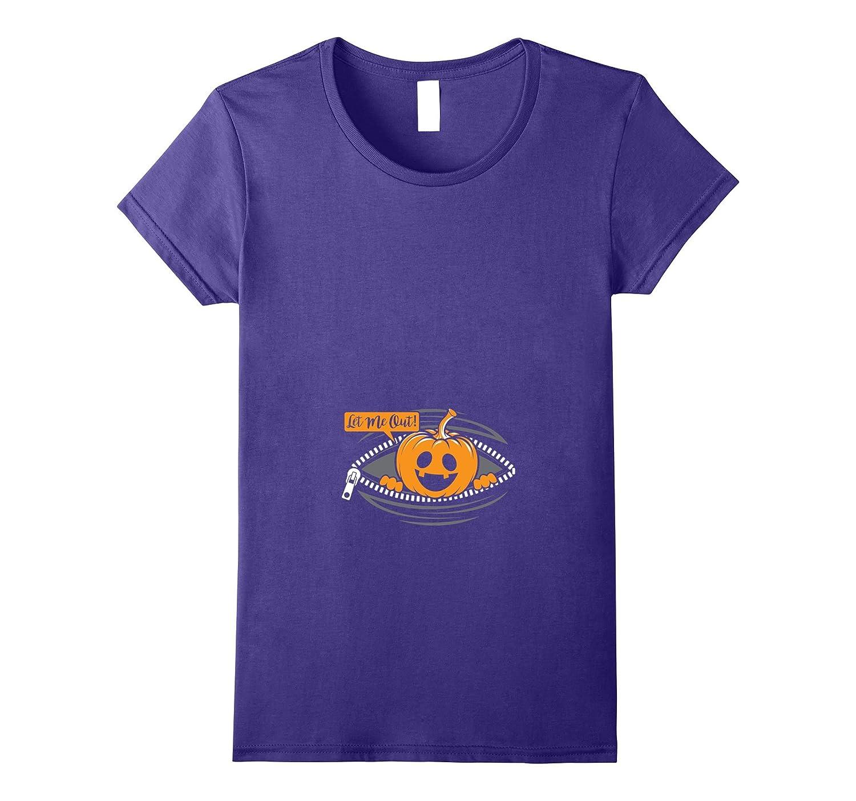 Womens Halloween Pregnant Little Pumpkin Let Me Out Costume Shirt-T-Shirt