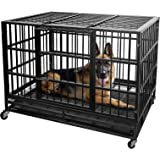 Lemberi 48 inch Heavy Duty Dog Crate cage,Extra Large Dog Crate Kennel,Indestructible high Anxiety Dog Crate,Easy to Assemble