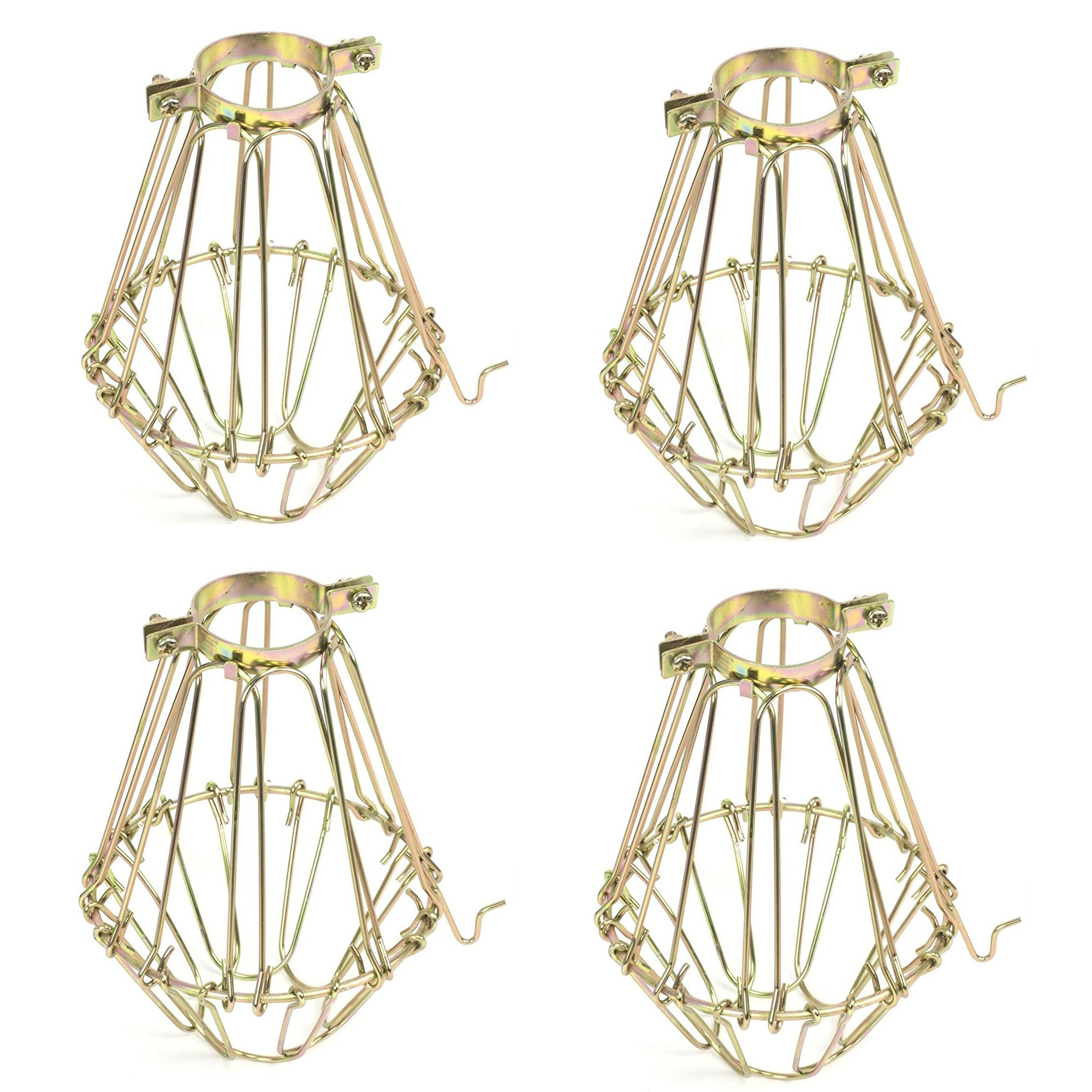 Set of 4 Industrial Vintage Style Black Hanging Pendant Light Fixture Metal Wire Cage , Lamp Guard, Adjustable Cage Openings to Different Styles (Brass)