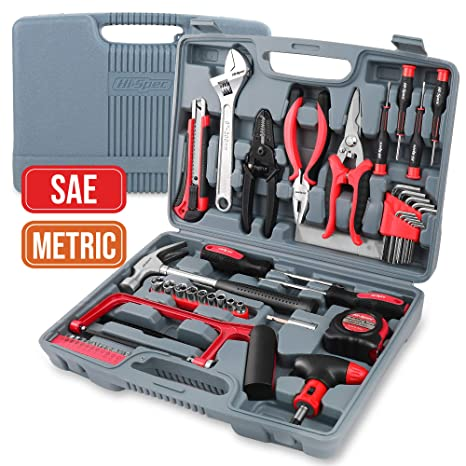 Hi Spec 53 Piece Household Tool Kit With Claw Hammer Hack Saw Wire Strippers Crimpers 1 4 Drive Sockets Combination Pliers Ratcheting Bit