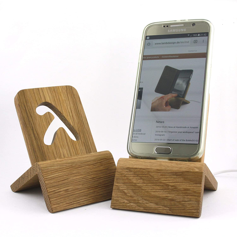 Designer Dockingstation (Micro USB/USB-C - Eiche massiv) für Smartphones kompatibel mit Samsung, Huawei etc.