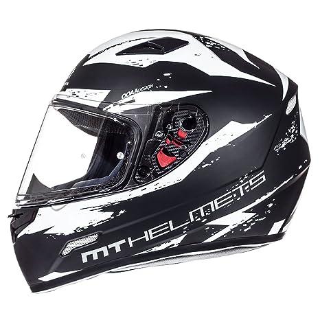 MT Mugello DVS Casco de Moto Integral Scooter ACU Gold Estampado Matt Blanco Negro S(