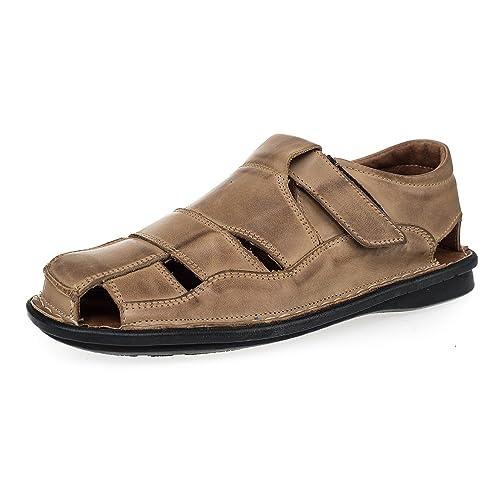 d6524ee45f4 KS - 02 - Zapatos Sandalias para Hombre - Ideales para Verano - Cuero   Amazon.es  Zapatos y complementos