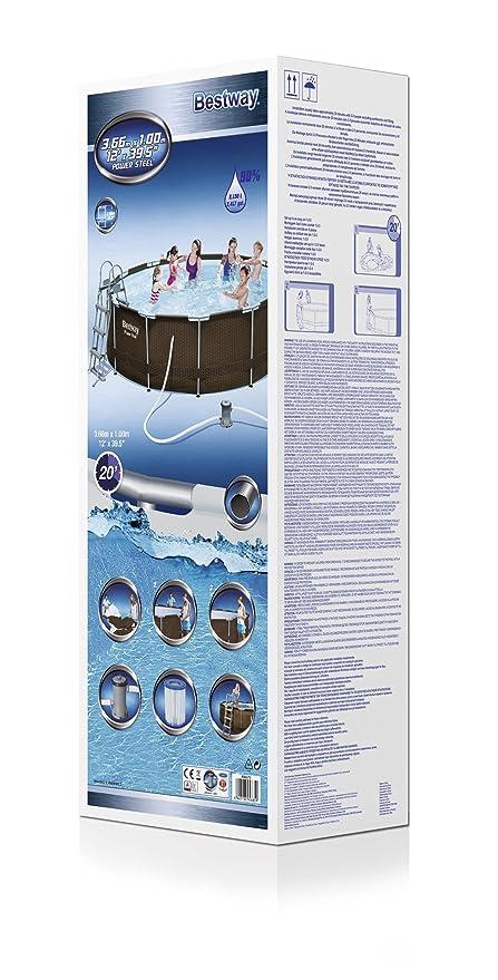Piscina Desmontable Tubular Bestway Power Steel Diseño Rattan 366x100 cm Depuradora de cartucho de 2.006 litros/hora