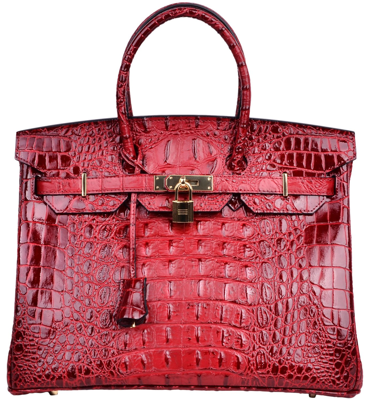 Cherish Kiss Women's Luxury Embossed Crocodile Leather Tote Office Padlock Handbags (30CM, Red wine)