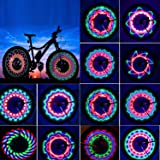 TGJOR Bike Wheel Lights, LED Waterproof Bicycle Spoke Tire Light with 32-LED and 32pcs Changes Patterns Bicycle Rim Lights fo